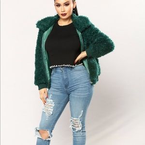 d6896e9cb Fluffy green shearling bomber jacket